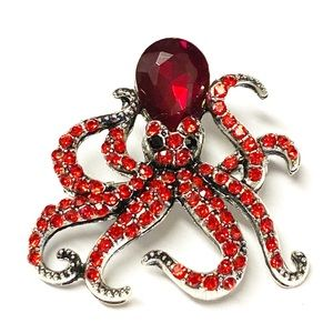 Jewelry - Stunning Red Crystal Octopus Nautical Brooch Pin